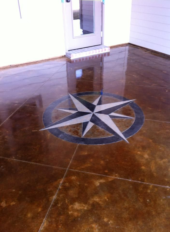 Compass Rose Concrete Staining Lafayette La Louisiana