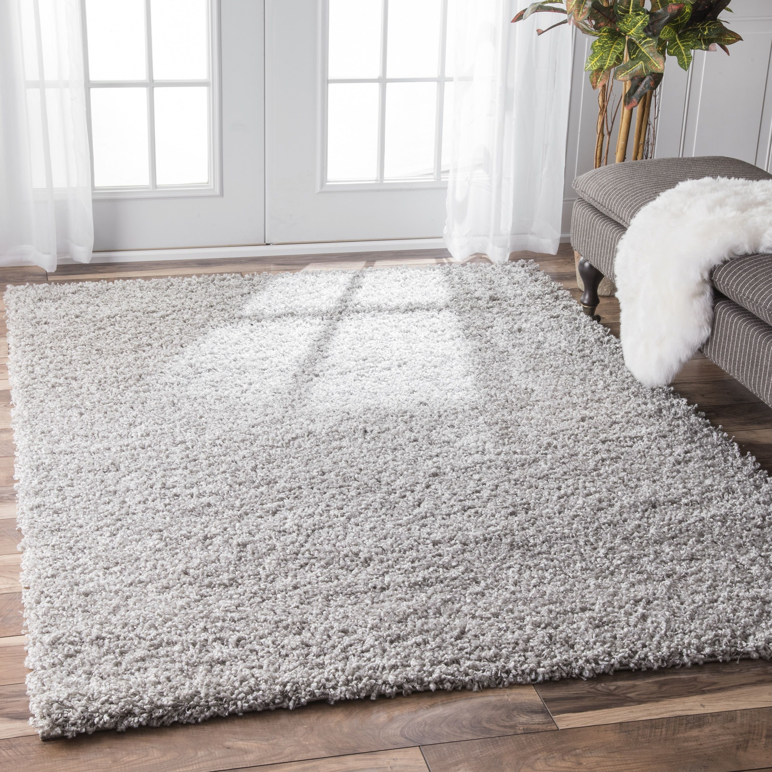 Nuloom alexa my soft and plush solid silver shag rug u x