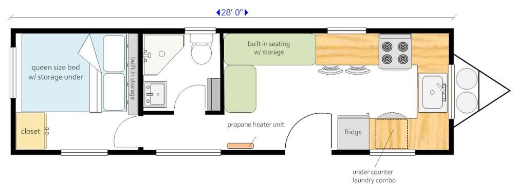 28 Ft Trailer Sing Level Design Private Bedroom With Closet Space Mid Size Bathroom Large Kitchen Wit House On Wheels Tiny House On Wheels Bathroom Layout