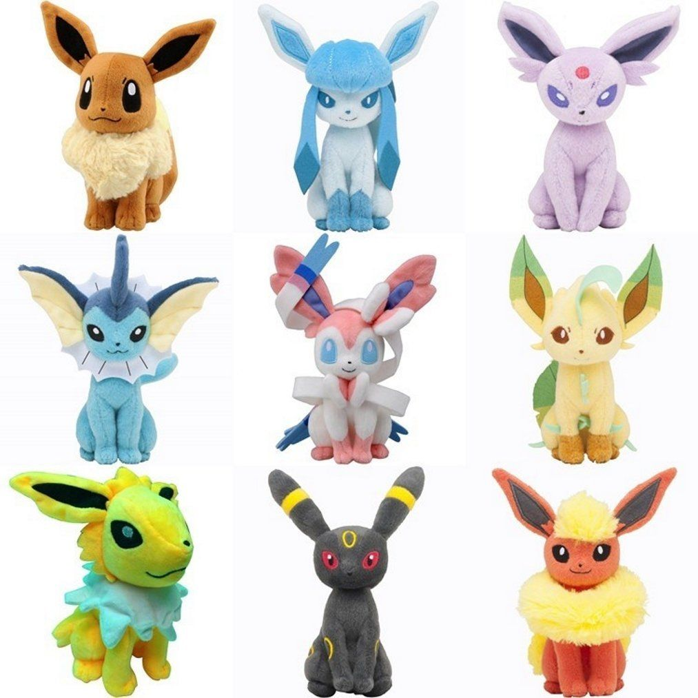9pcs New Pokemon Evolution of Eevee Plush doll