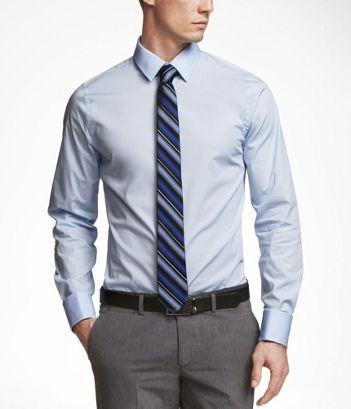 Light blue long-sleeved collared shirt with contrasting darker ...