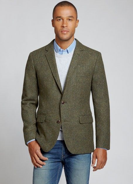 The Nottingham Blazer - Olive Herringbone Bonobos, Shetland wool tweed by Abraham Moon
