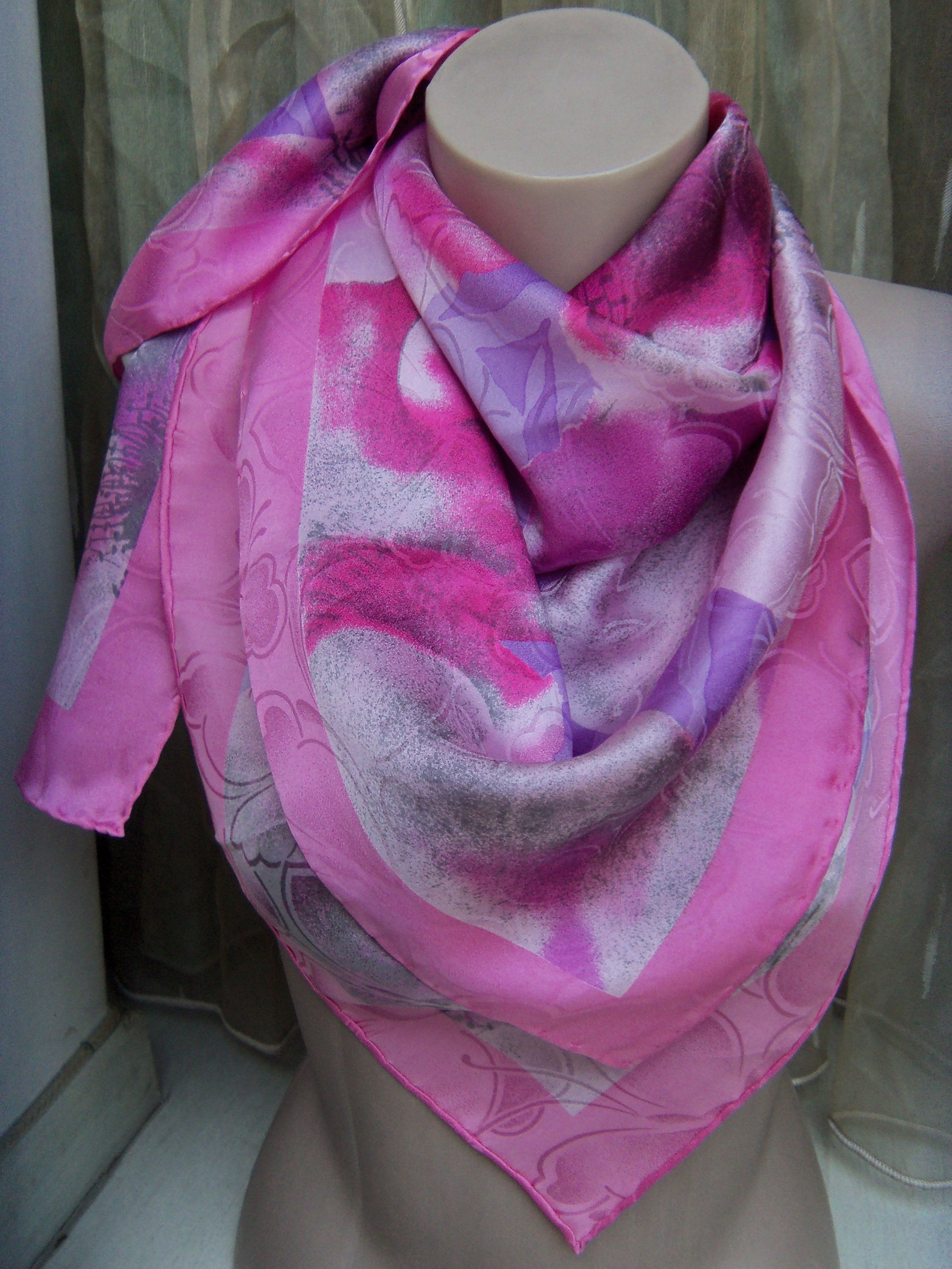 b409459cf61 Italy Silk Jacquard Accent Scarf Flower Pink and Purple Hand Rolled ...