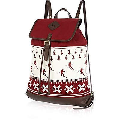 MEN'S RIVER ISLAND RED SKIER CHRISTMAS RUCKSACK BACKPACK BAG - NEW & TAGGED!