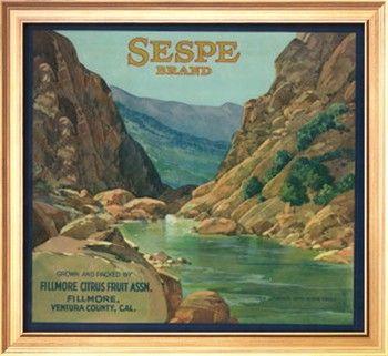 Sespe Orange Label Fillmore Ca Premium Poster At Art Com Vintage Labels Vintage Advertising Art Fillmore