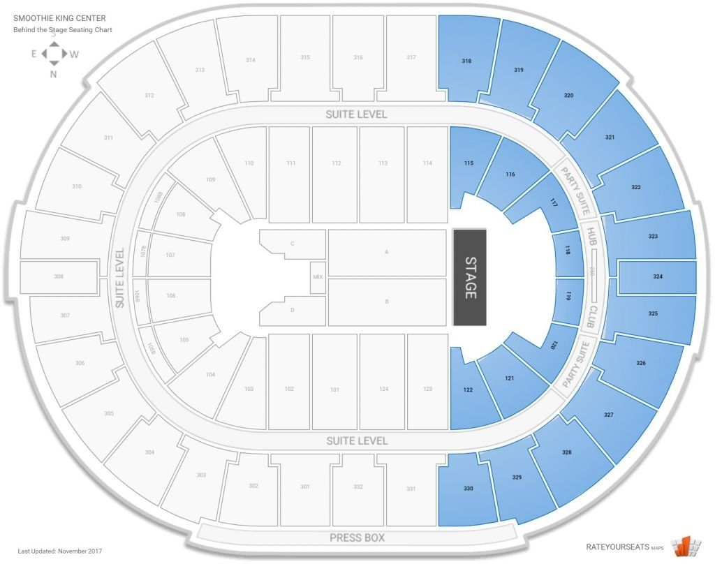 Smoothie King Center Concert Seating Guide Rateyourseats Inside New Orleans Arena Seating Chart Neworleansarenaseatingchart Neworle Smoothie King Center Smoothie King Seating Charts