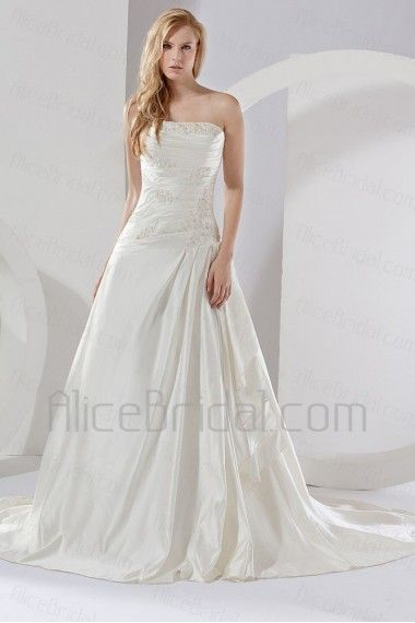Satin Strapless Chapel Train A-line Wedding Dress - Alice Bridal