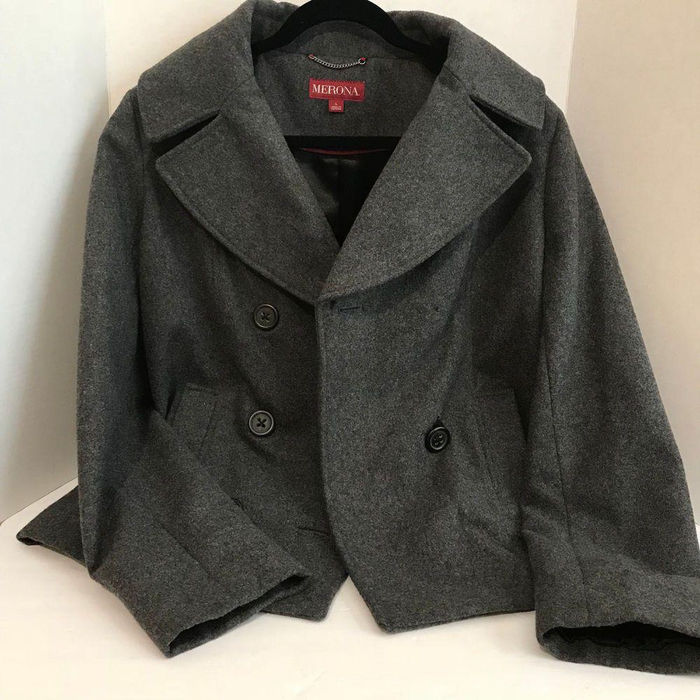 75c10fdba14 Merona Womens Winter Jacket Dark Gray Wool Blend Peacoat Large  Merona   Peacoat  Casual