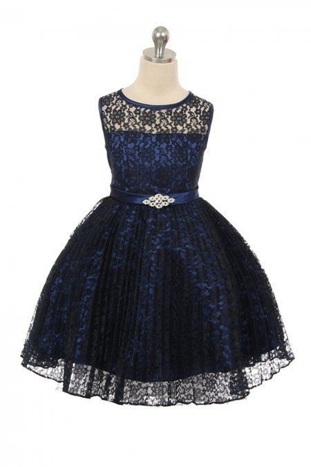 056df5b53d700 Navy Blue Lace Pleated Flower Girl Dresses in 2019   flower girl ...