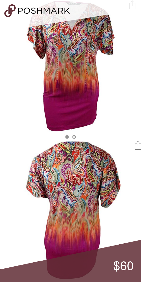 ade200bbc9e8c Ralph Lauren Sunrise Tunic cover up paisley M Ralph Lauren Sunrise tunic  and swim cover up. Multi color with pink and orange. Drawstrings with  tassels on ...