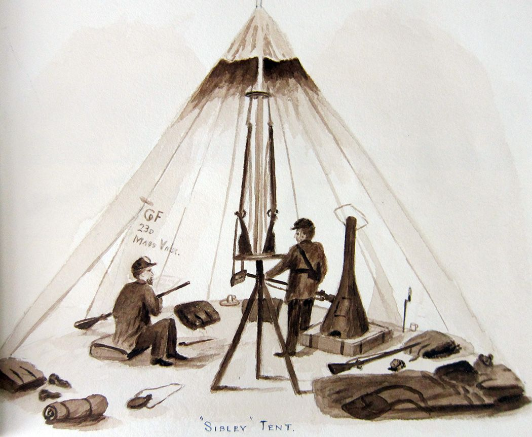Now on Conversant Civil War sketches and paintings by Salem soldier Herbert E. [brush drawing of Sibley Tent] & Now on Conversant: Civil War sketches and paintings by Salem ...