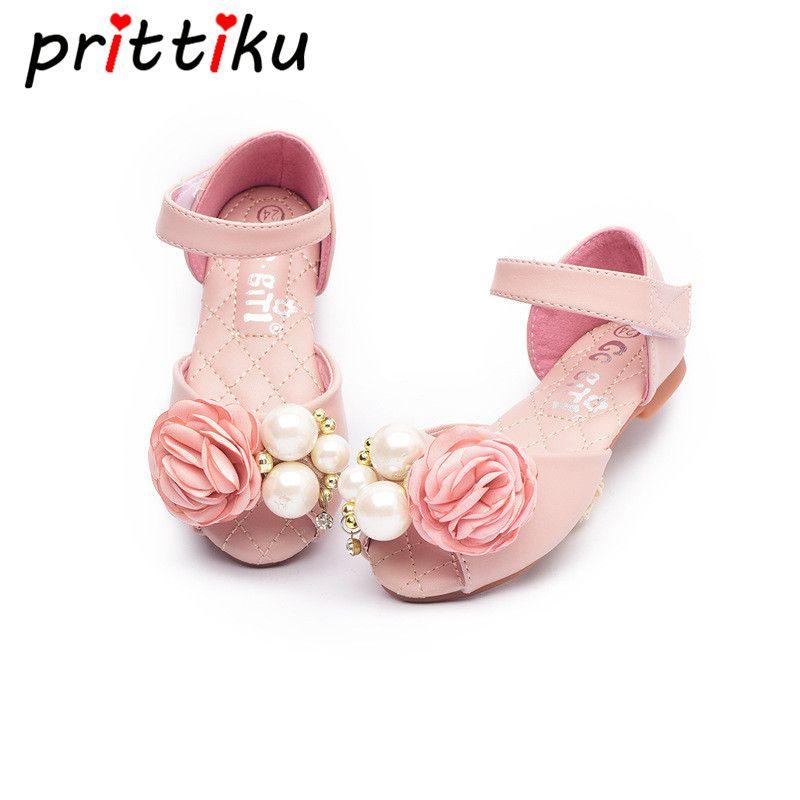 570453eee4d8 Find More Sandals Information about Spring Summer 2018 Baby Toddler Girls  Princess Sandals Little Kid Pink Fashion Flats Big Children Bead Faux Pearl  Flower ...
