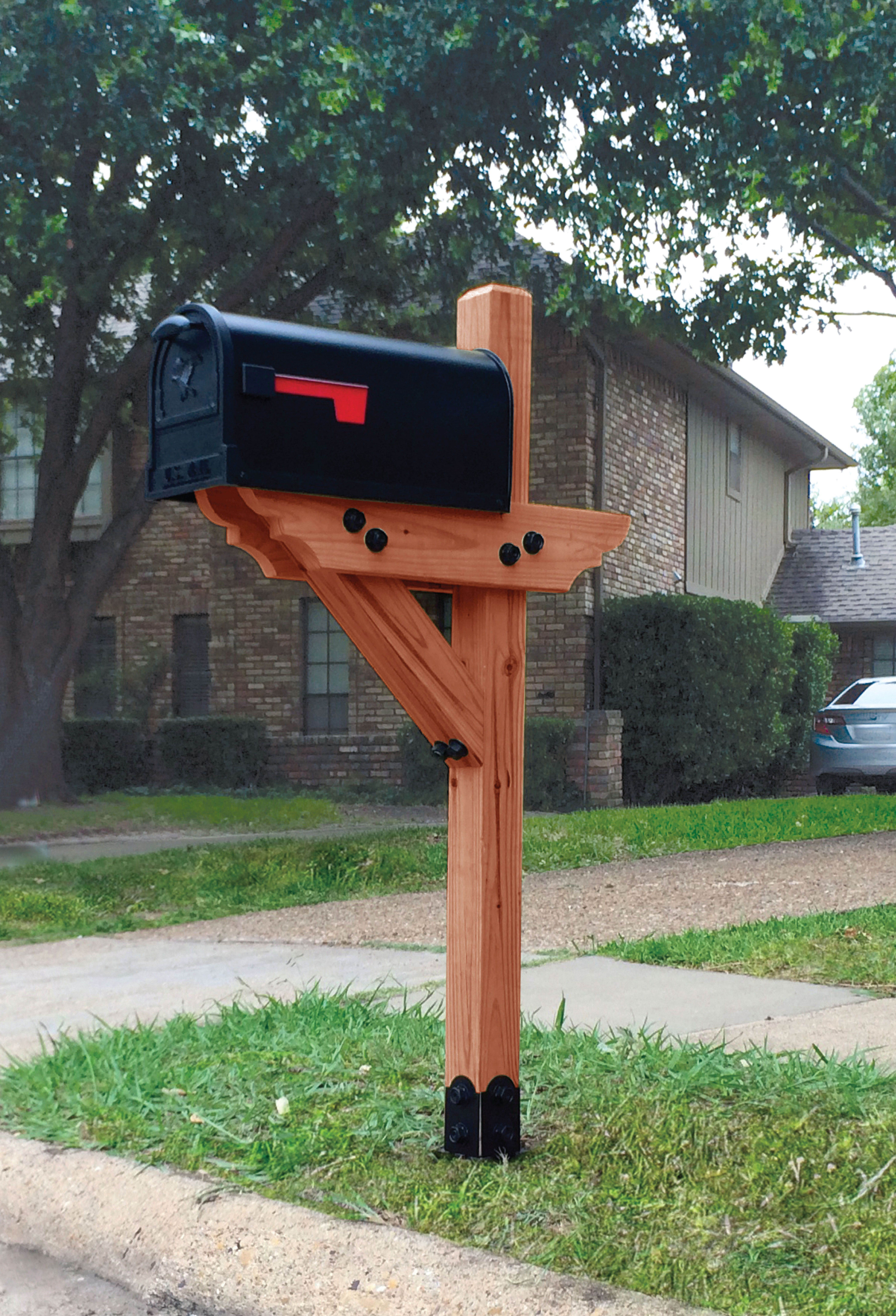 Dress Your Mailbox Up In Style With This Wood Mailbox Post Mailboxlandscape Mailboxlandscaping With Images Diy Mailbox Mailbox Design Mailbox Landscaping