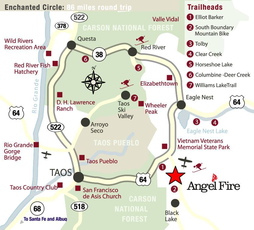Enchanted Circle Scenic Byway, New Mexico. Taos, Questa, Red ...