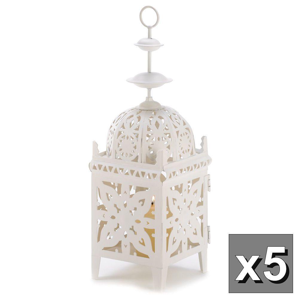 5 bulk lot white Moroccan Marrakech Lantern Candle holder wedding ...