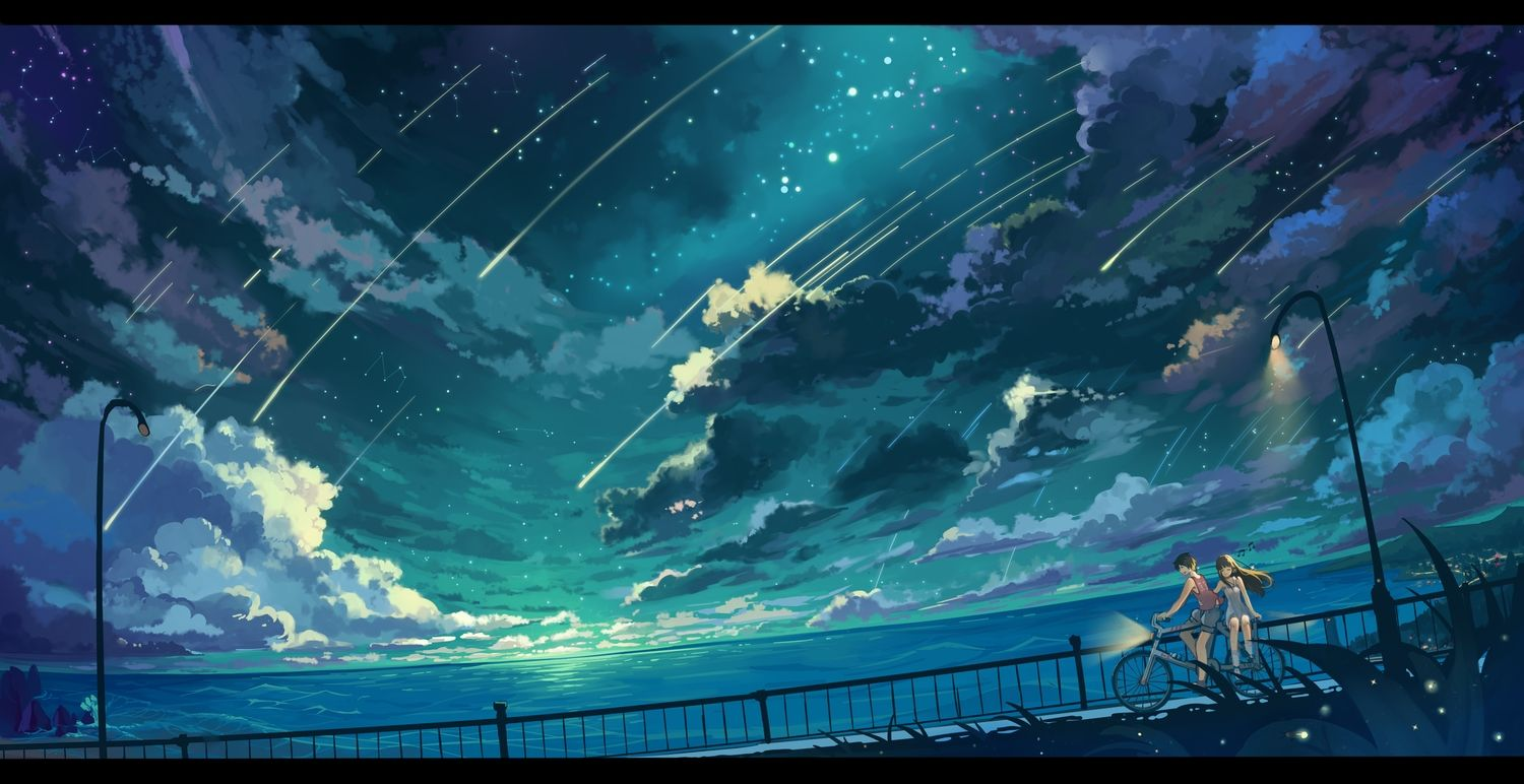 Anime Night Sky: Bicycle Clouds Dress Haraguroi You Night Original Scenic