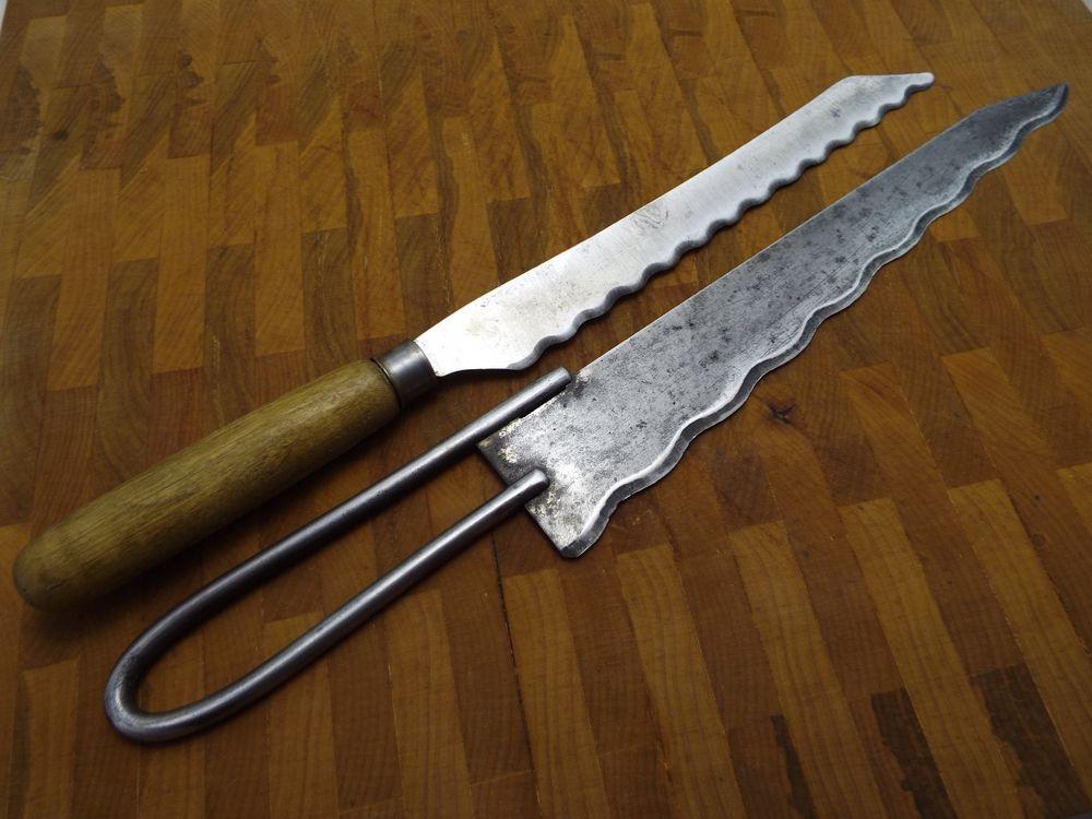 Vtg Antique Bread Cake 2 Knives Lot Christy Carbon Steel