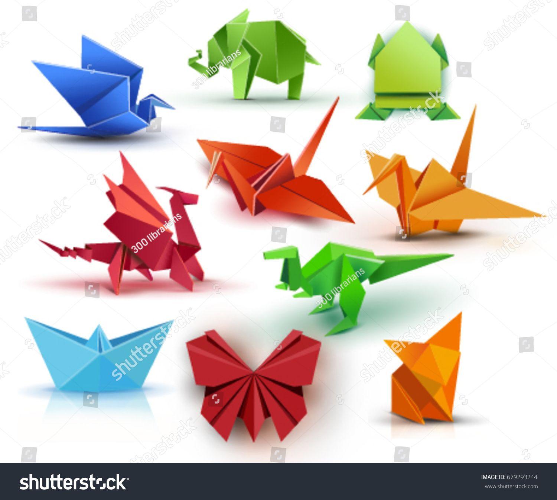 Set Origami Butterfly Crane Frog Elephant Dragon Ship Dinosaur Fox Paper Set Origami Ad Ad Crane In 2020 Origami Butterfly Origami Eye Drawing Tutorials