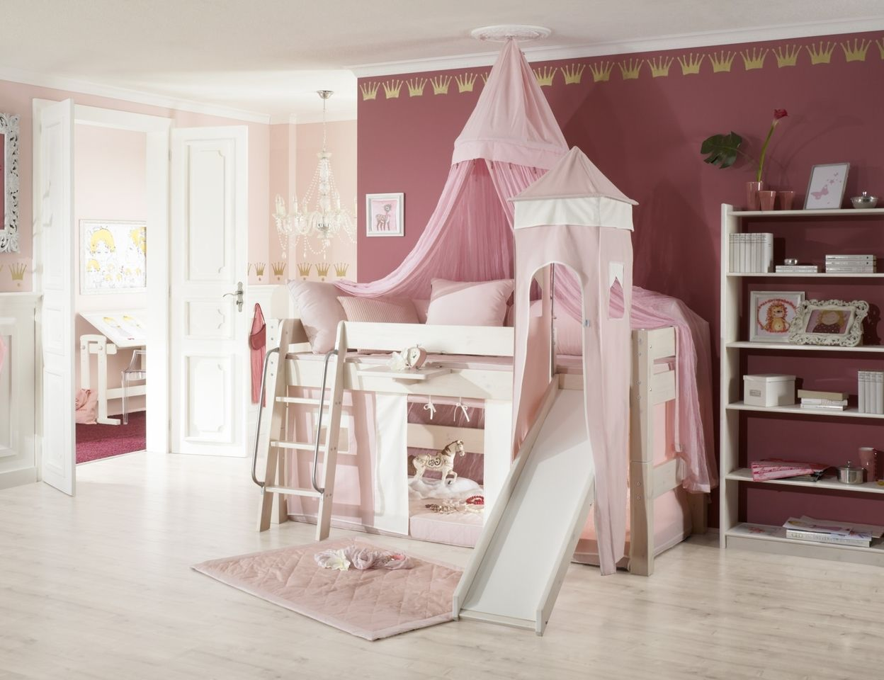 prinzessinnen hochbett mit rutsche weiss rosa kids room hochb. Black Bedroom Furniture Sets. Home Design Ideas