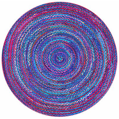 World Menagerie Josephine Hand-Braided Blue Area Rug Rug Size: Round 8'