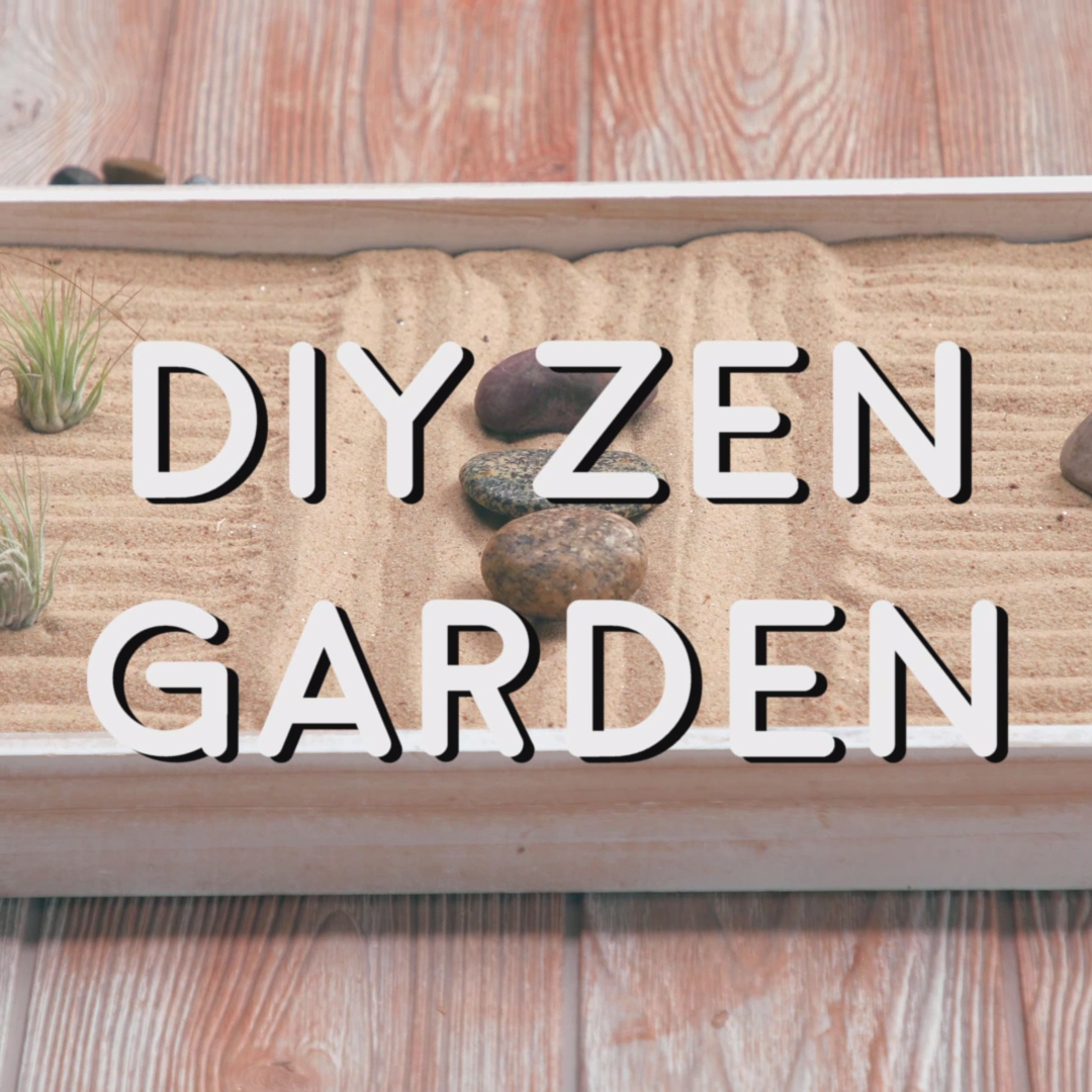 DIY Zen Garden: How to make a zen garden you ask? We've got your how-to! Manipulating the sand in a zen garden is a peaceful and stress relieving activity.  And it turns out creating your own zen garden from scratch isn't too hard and is incredibly calming in itself! #zengarden #zengardenDIY #zengardendesign #zengardenideas #zengardenmediation #meditation #zengardensmall #howtomakea#zengarden