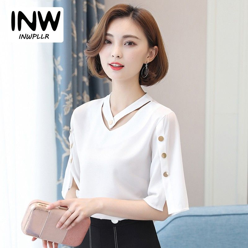 a1f602f787d ... Aliexpress Best Seller. Blouse Shirt Women 2018 Korean Style V-neck Tops  Ladies Chiffon Blouse Button Short Sleeve