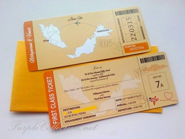 Engagement Boarding Pass Invitation Card (Orange Gold Theme - best of invitation template boarding pass