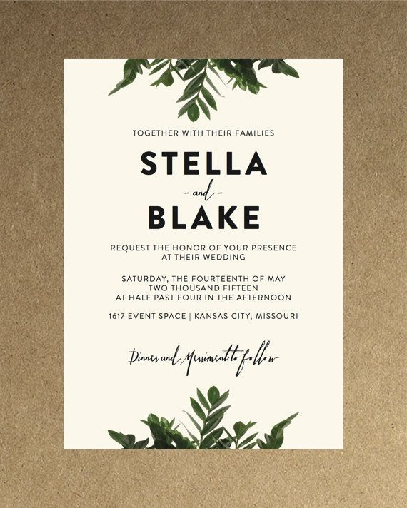 Modern Wedding Invite Wording: Modern Botanical Greenery Wedding Invitation // DIY