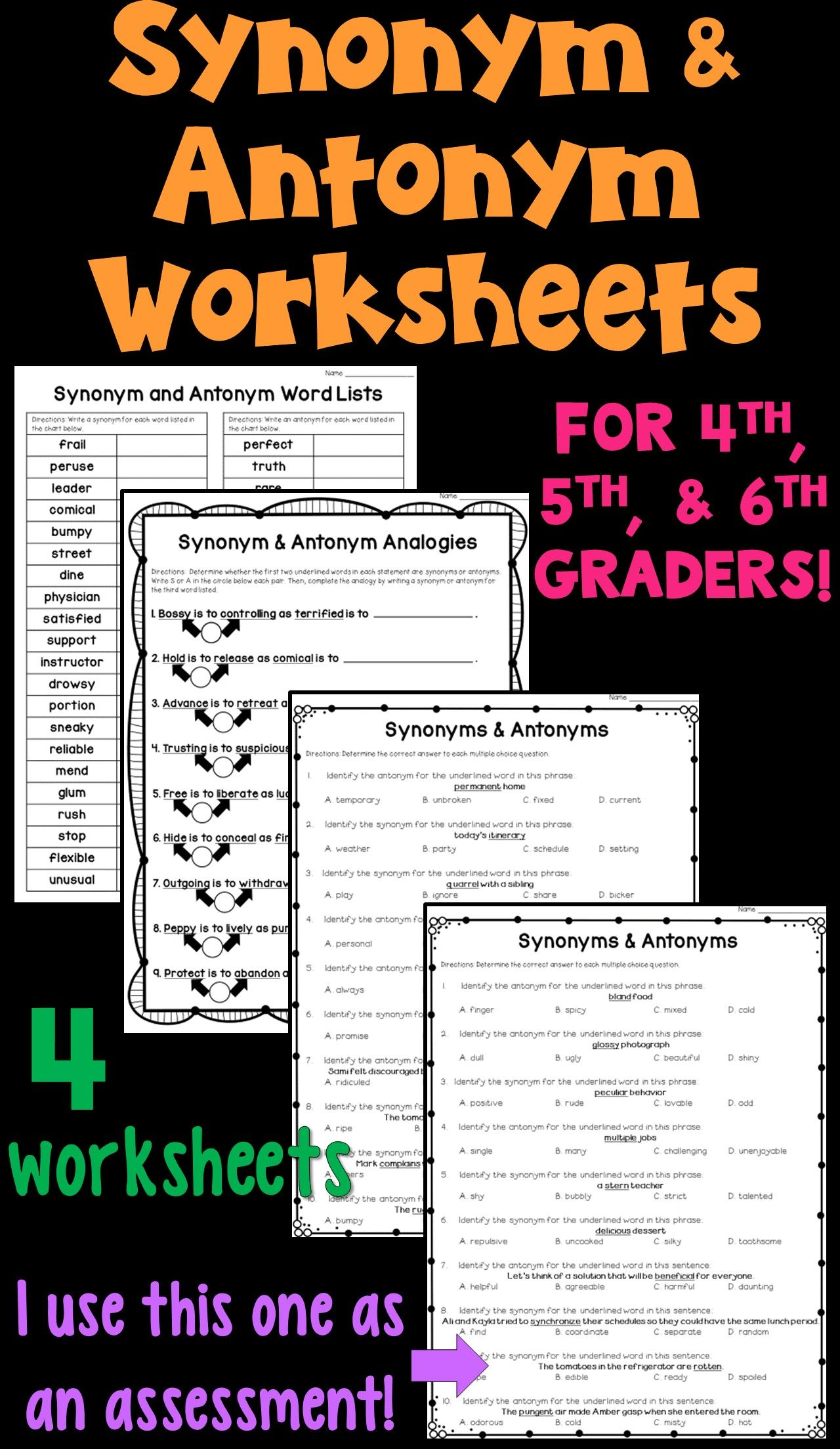 Synonyms and Antonyms Worksheet Packet! These 4 worksheets focus on  generating synonyms an…   Synonyms and antonyms [ 2208 x 1280 Pixel ]