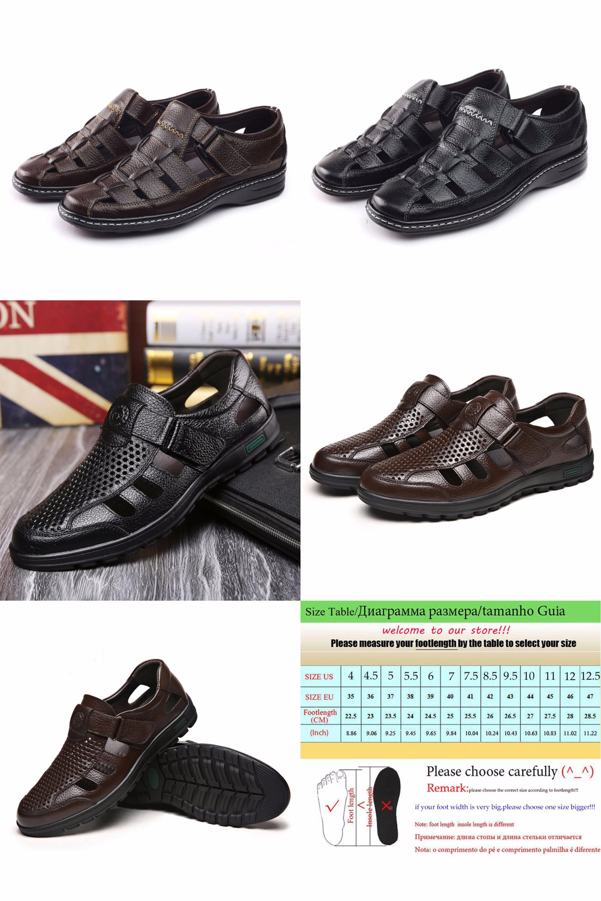 fd9d47f0ca88  Visit to Buy  2017 New Men Sandals Made Of Cow Leather Black Brown Hand