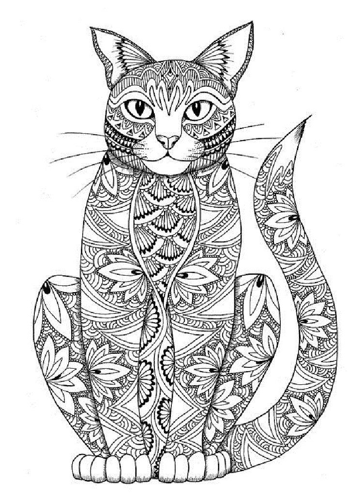 cat mandala coloring pages in 2019 Cat coloring page
