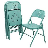 Shin Crest Decorative Metal Folding Chair Select Color 4 Pack