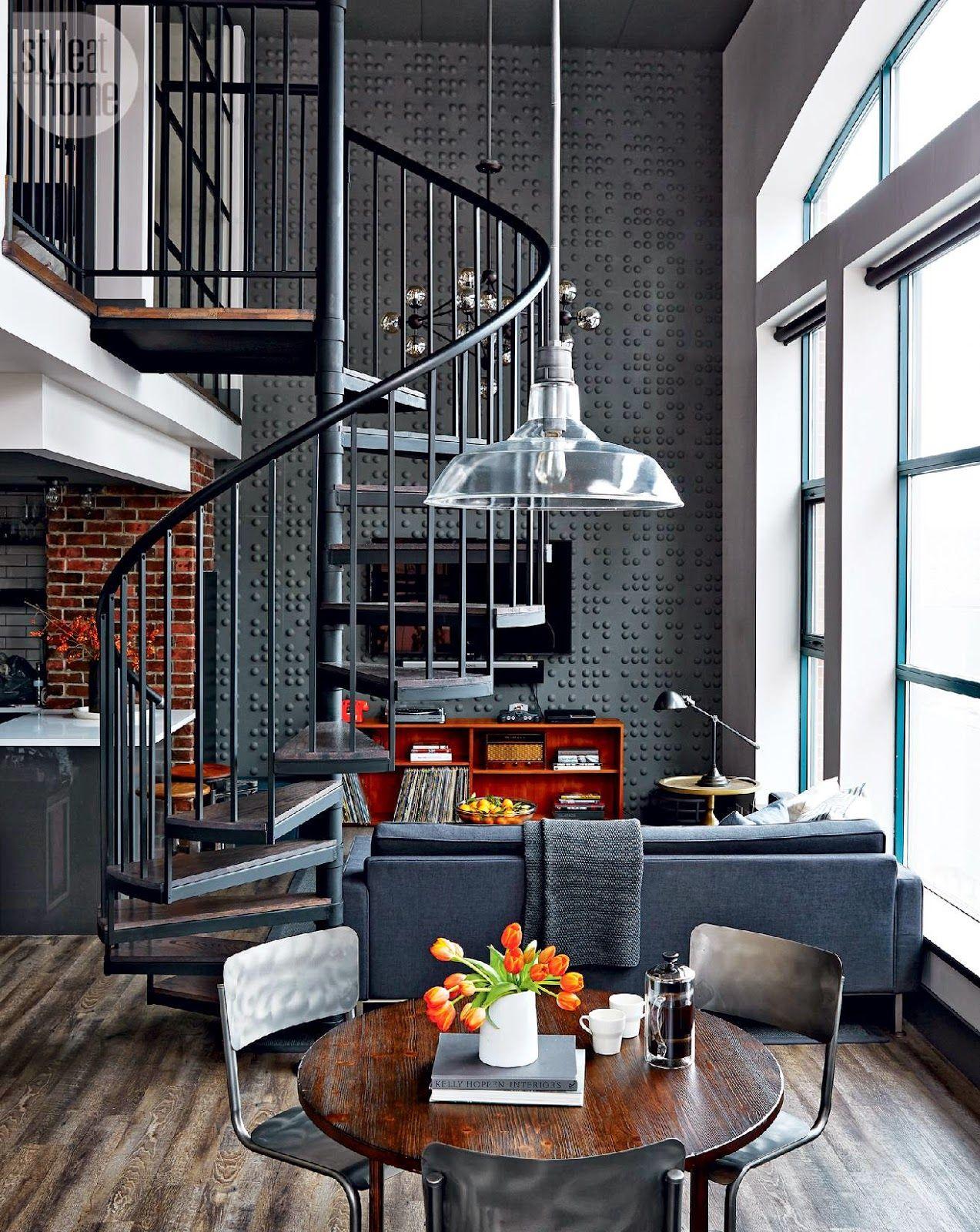Jurnal de design interior - Amenajri interioare : Amenajare masculin  ntr-un loft de 70