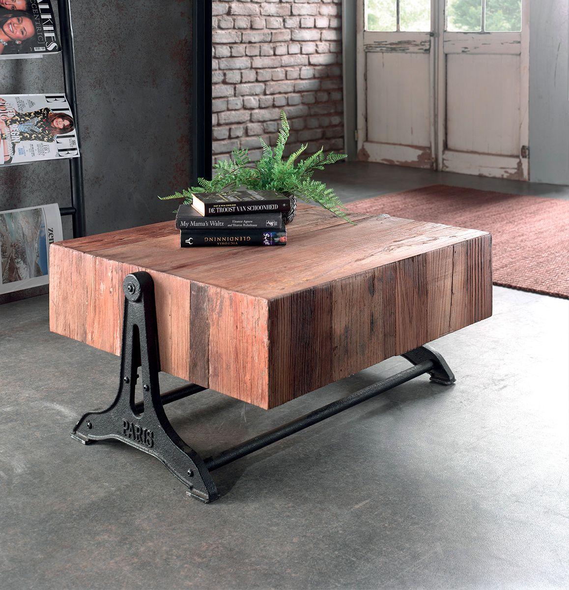 Table Basse En Bois D Orme Recycle Et Pietement En Fer Vieilli