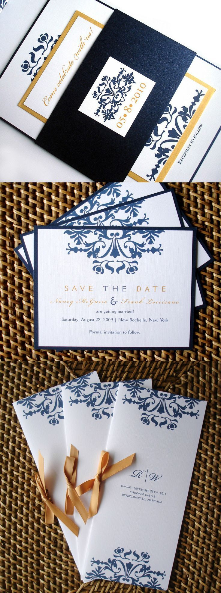 Gold and navy blue wedding invitation set elegant wedding