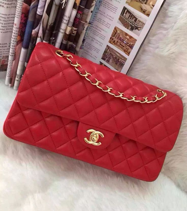Chanel Small Classic Flap Bag In Red Lambskin With Golden Hardware At Usd 323
