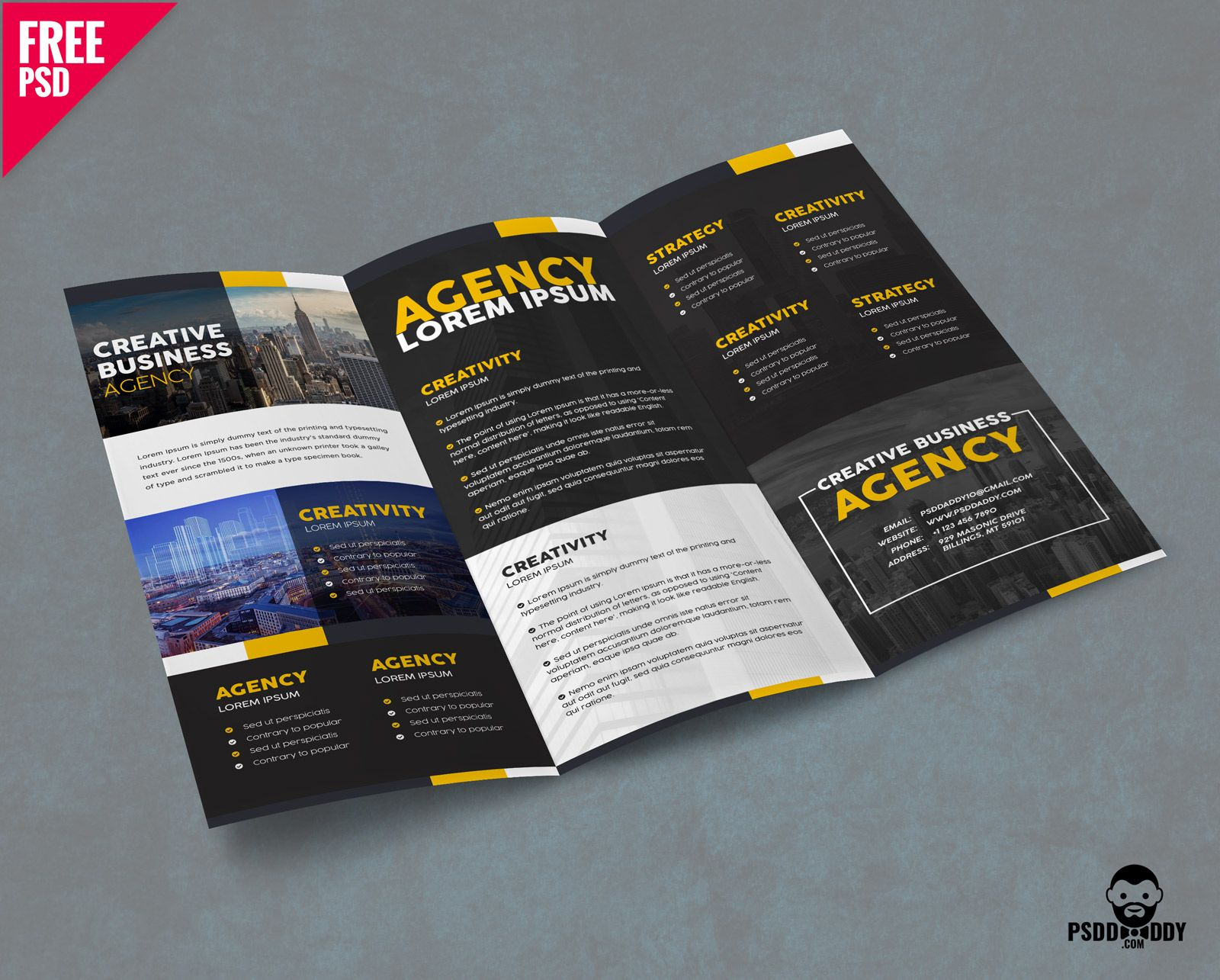 Corporate Trifold Brochure Template Free PSD UXFreeCOM DESIGN - 3 fold brochure template free