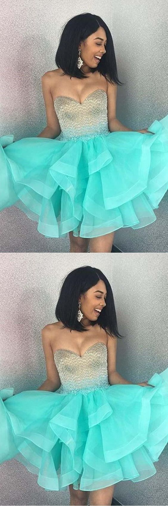 Sparkly strapless mint green homecoming dress short prom dress in