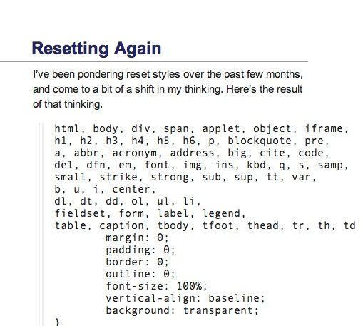 CSS RESETTS | CSS | Markup language, Style sheet, Coding