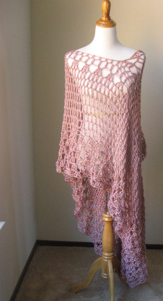 Marcie PINK LONG Bohemian VEST Crochet Maxi Vest, Cardigan, Poncho ...