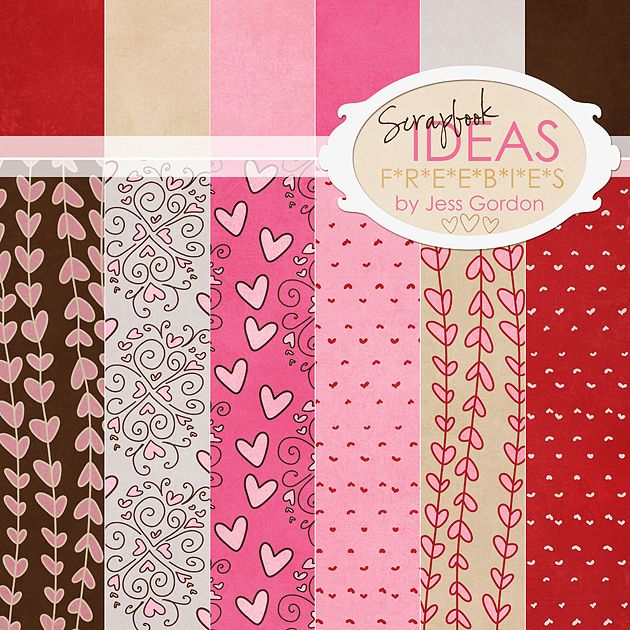 Valentine Hearts Digital Scrapbook Paper by Jess Gordon