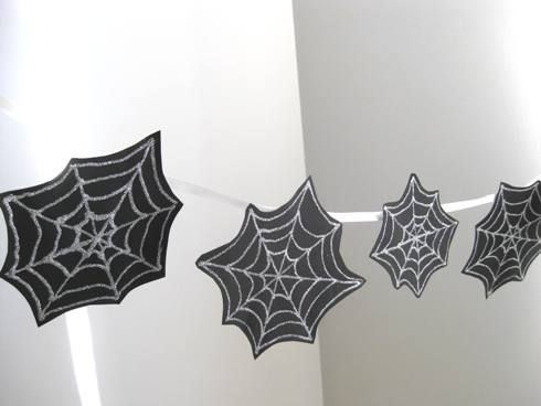 Paper Halloween spider webs to hang around the house as a fun and sparkly Halloween decoration.