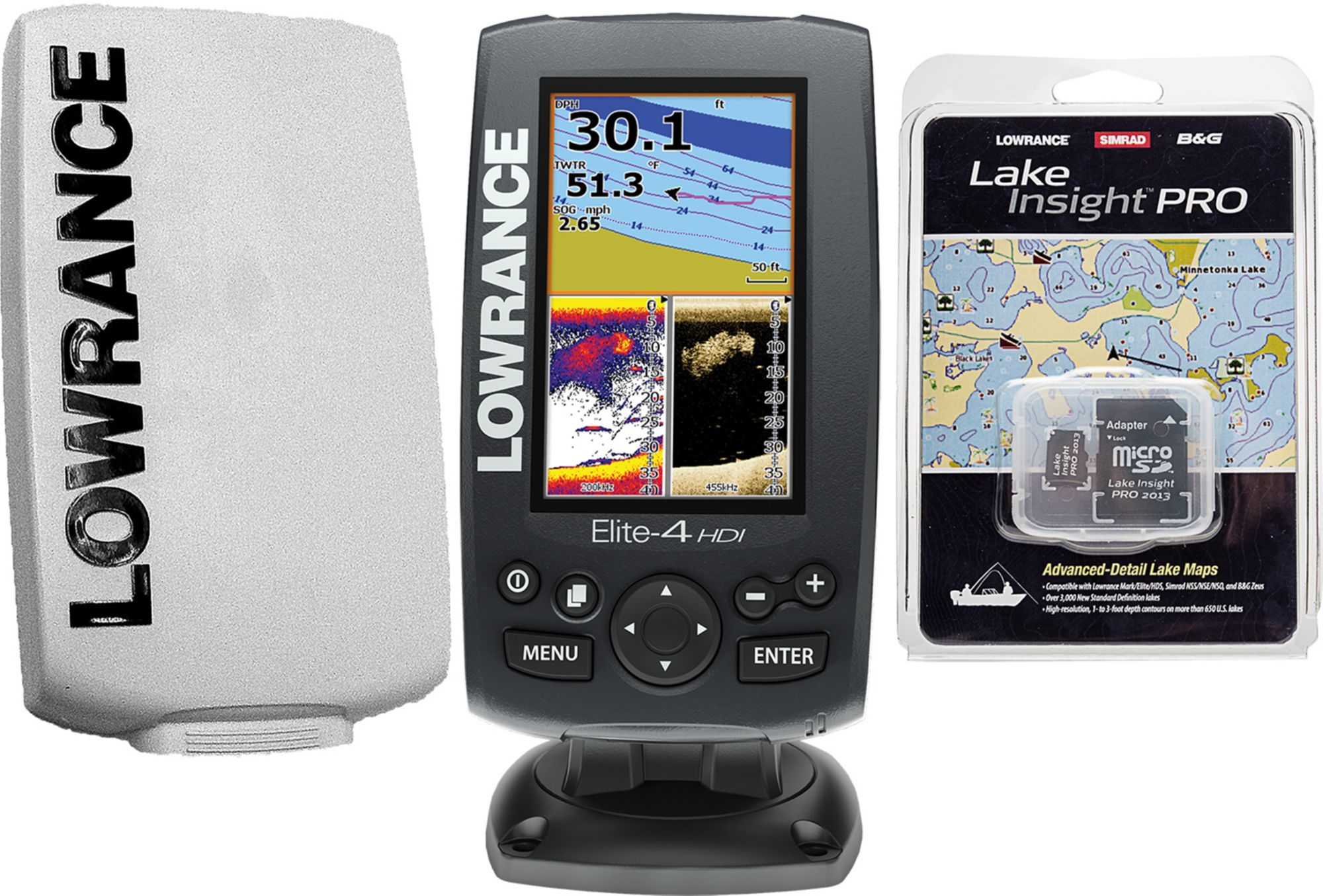 Lowrance Elite-4 HDI Fish Finder/Chartplotter with Lake