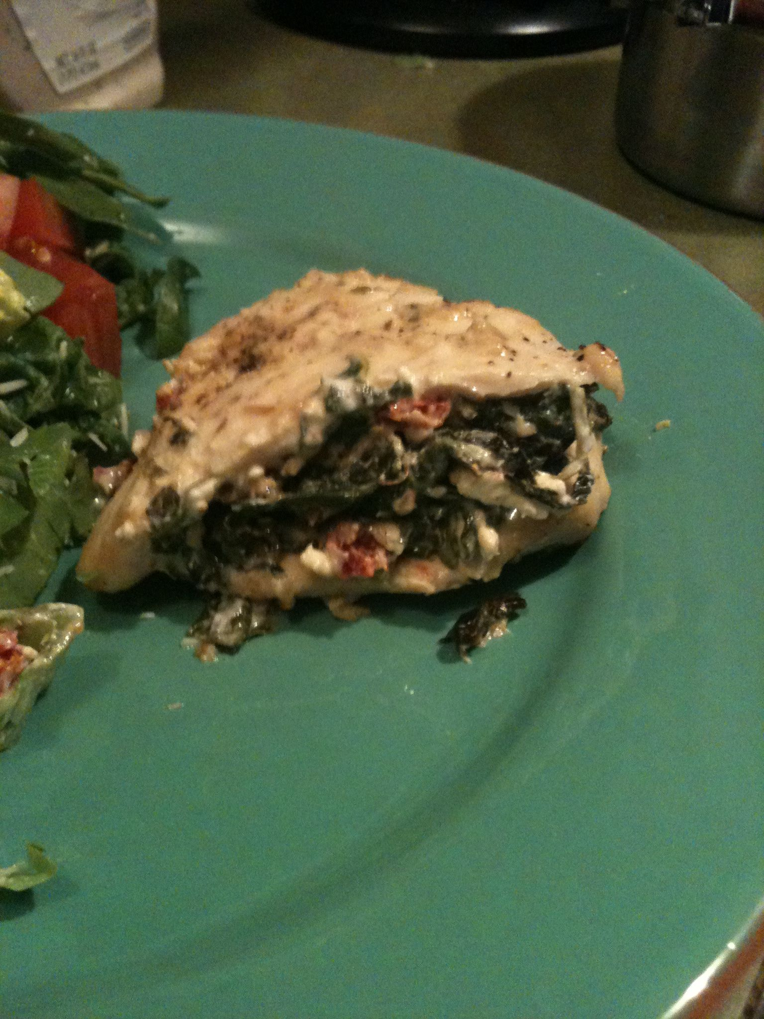 Feta and spinach stuffed chicken. Nick and I really love this recipe and make this at least once a month. We even stuffed the chicken and froze them stuffed before we cooked the chicken. This was we had plenty of if and only had to make it once   http://fitmindandbody.tumblr.com/post/5958150534/wannabefitnotfat-andiwillbehealthy