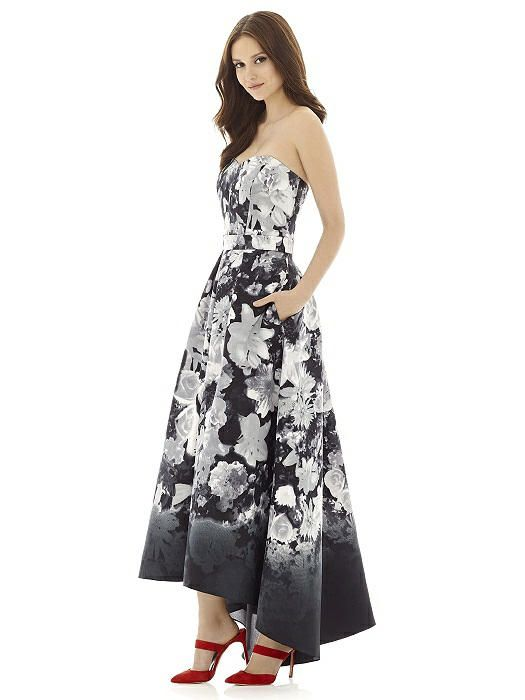 9ce9c24eb43 Style D699FP from Alfred Sung is a full length strapless floral print  sateen twill bridesmaid dress with sweetheart neckline and hi-low hem  detail.