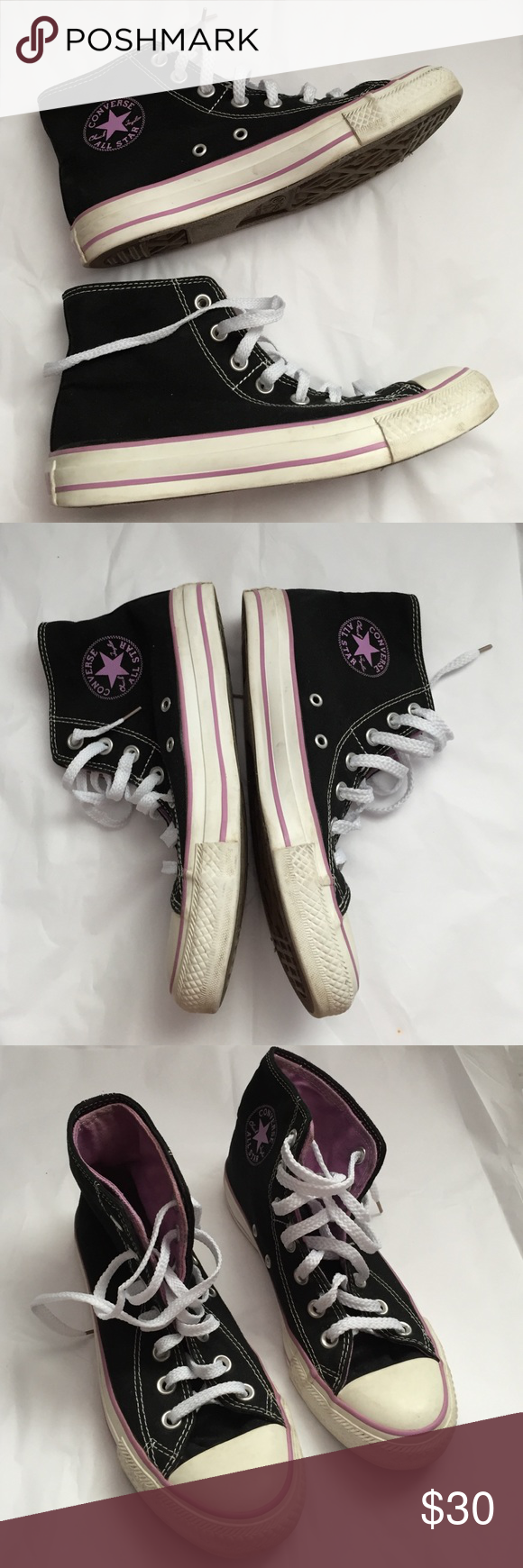 6d289e65d66c Converse All Star hi Tops! Black and purple! Size women s 7. Gently used  condition! Double tongue style! Not the original shoestrings. Converse Shoes  ...