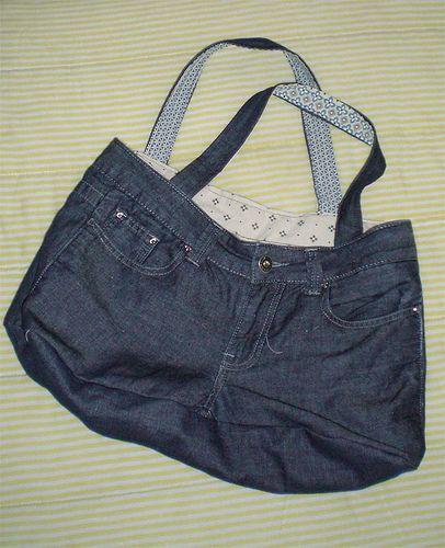 Tutorial borsa jeans riciclo creativo pinterest for Borse fai da te jeans