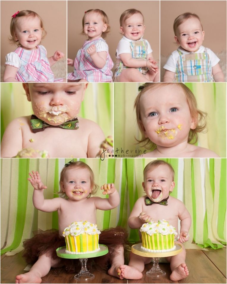 Twins First Birthday Cake Smash Portrait