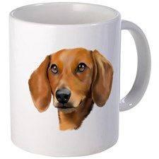 Red Dachshund Art Portrait Mugs