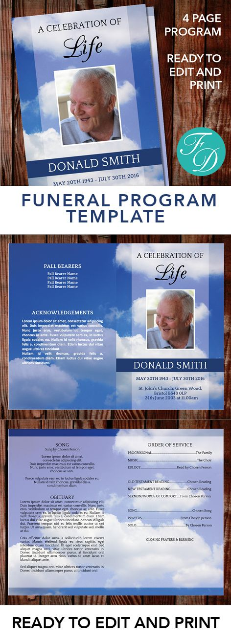 Clouds Printable Funeral program ready to edit \ print Simply - celebration of life templates